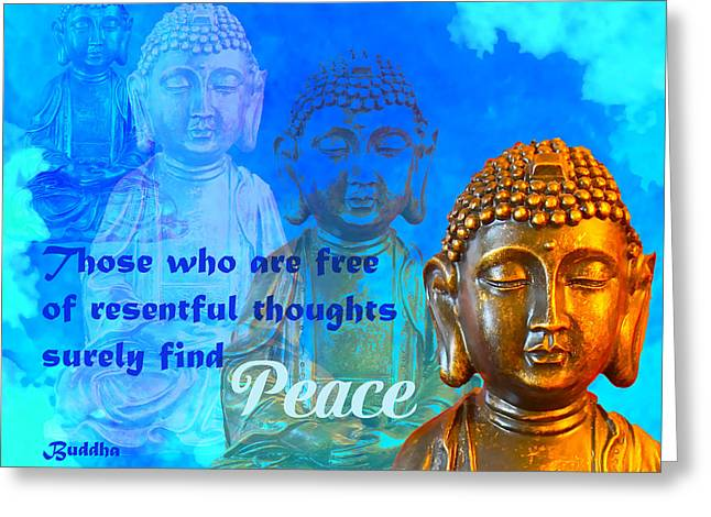 Greeting Card featuring the photograph Buddha's Thoughts Of Peace by Ginny Gaura