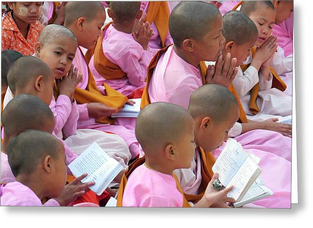 Buddhist Children Praying Greeting Card by Peter Menzel