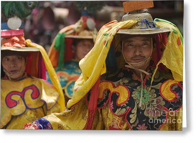 Buddhist Dancers - Kham Tibet Greeting Card by Craig Lovell