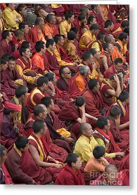 Buddhist Drumsbuddhist Monks - Katok Monastery Kham Greeting Card by Craig Lovell -