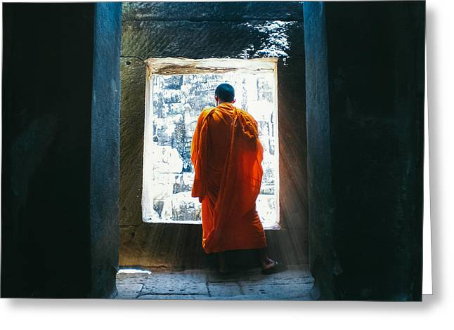 Buddhist Monk In Bayon Temple Angkor Wat Greeting Card by Leander Nardin
