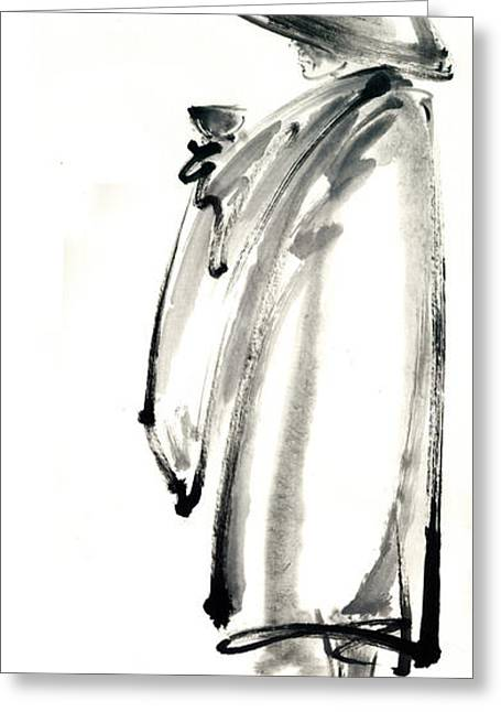 Buddhist Monk With A Bowl Zen Calligraphy Original Ink Painting Artwork Greeting Card