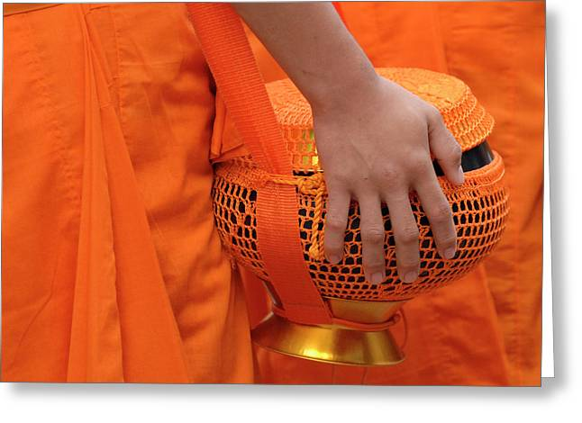 Buddhist Monks Hand Greeting Card by Bob Christopher