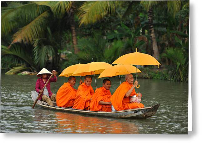 Buddhist Monks In Mekong River Greeting Card