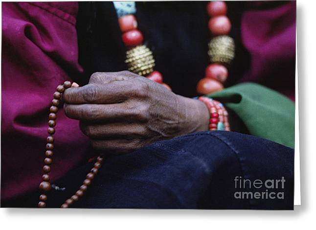 Buddhist Rosary - Tibet Greeting Card by Craig Lovell