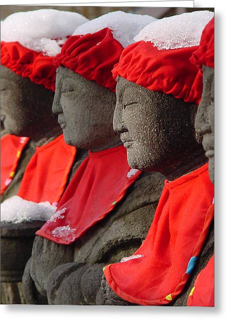 Buddhist Statues In Snow Greeting Card by Larry Knipfing
