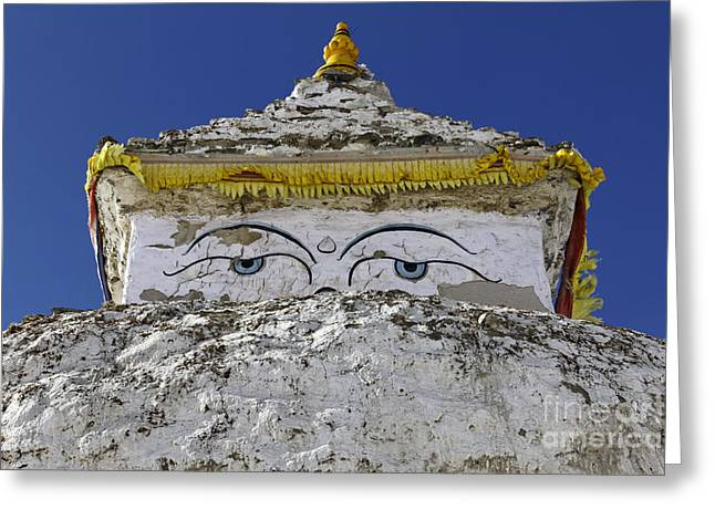 Buddhist Stupa At Dingboche Village In The Everest Region Of Nepal Greeting Card