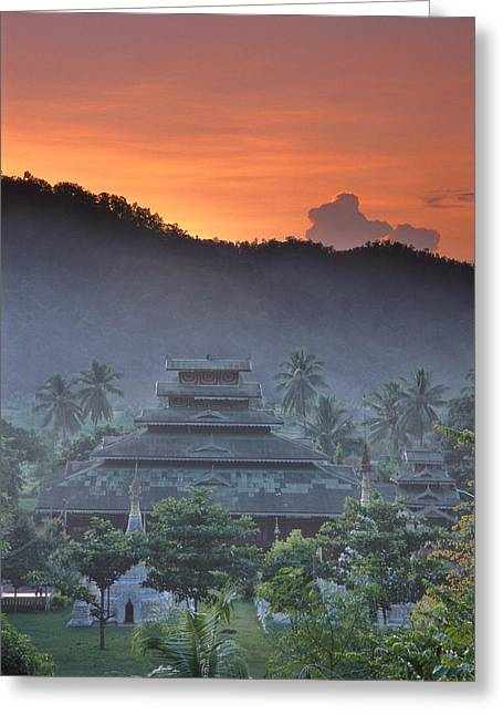 Buddhist Temple At Sunset Greeting Card by Richard Berry