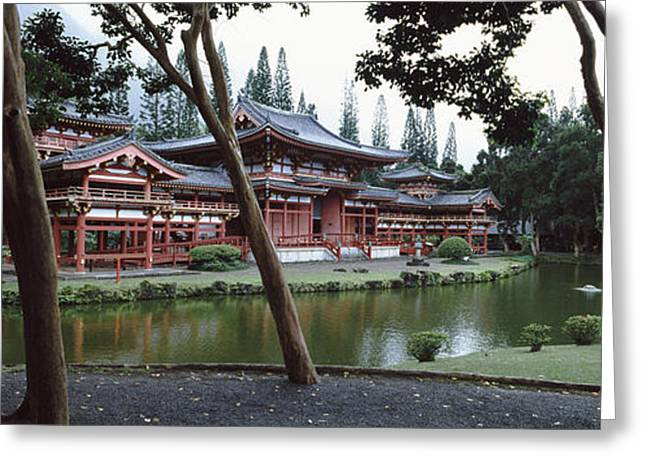 Buddhist Temple, Byodo-in Temple Greeting Card by Panoramic Images