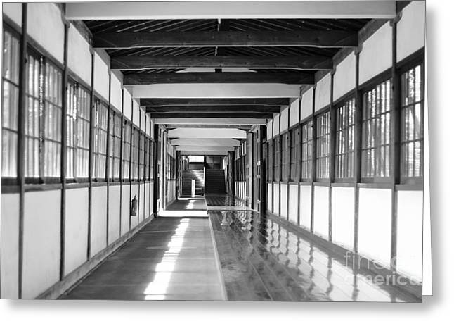 Buddhist Temple In Black And White - Passageway Greeting Card