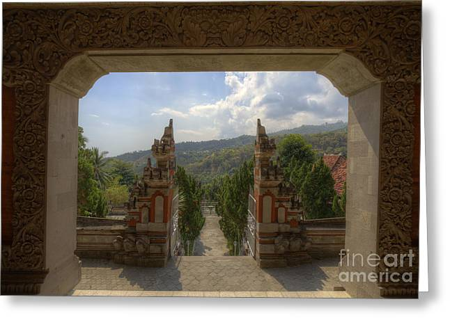 Buddhist Temple On Bali View Through Two Gates Greeting Card by Bart De Rijk