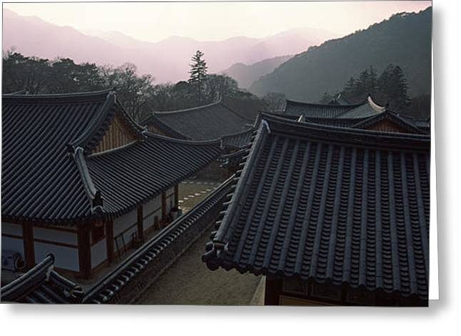 Buddhist Temple With Mountain Range Greeting Card by Panoramic Images
