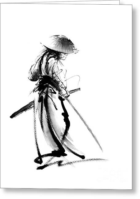Samurai With A Sword. Ronin - Lone Wolf. Greeting Card by Mariusz Szmerdt