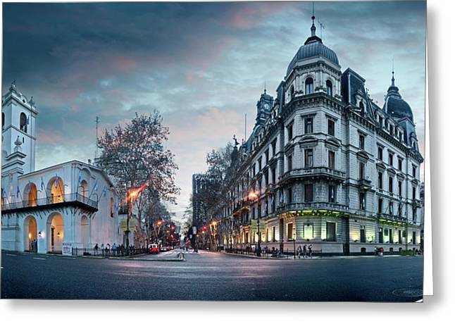Buenos Aires Cabildo On Plaza De Mayo Greeting Card by Panoramic Images