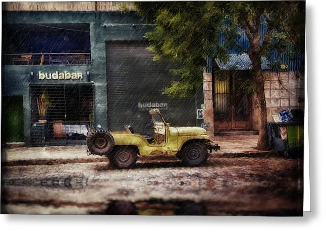 Buenos Aires Jeep Under The Rain Greeting Card