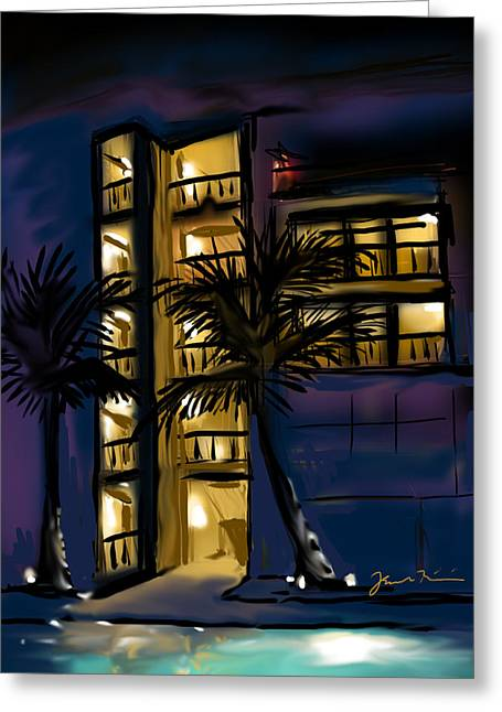 Greeting Card featuring the painting Buenos Noches Gloria by Jean Pacheco Ravinski