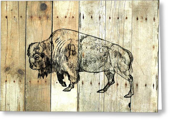 Greeting Card featuring the drawing Buffalo 9 by Larry Campbell