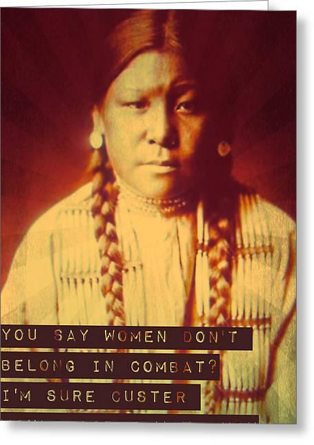 Buffalo Calf Road Woman Greeting Card by Michelle Dallocchio