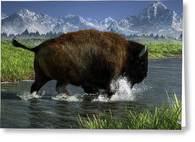 Buffalo Crossing A River Greeting Card by Daniel Eskridge