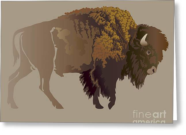 Buffalo. Hand-drawn Illustration Greeting Card