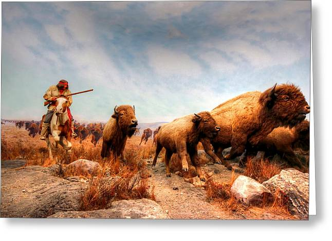 Greeting Card featuring the photograph Buffalo Hunt by Larry Trupp