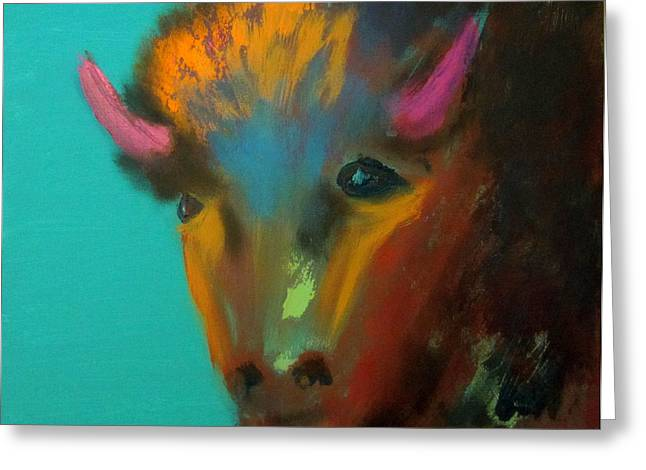 Greeting Card featuring the painting Buffalo by Keith Thue