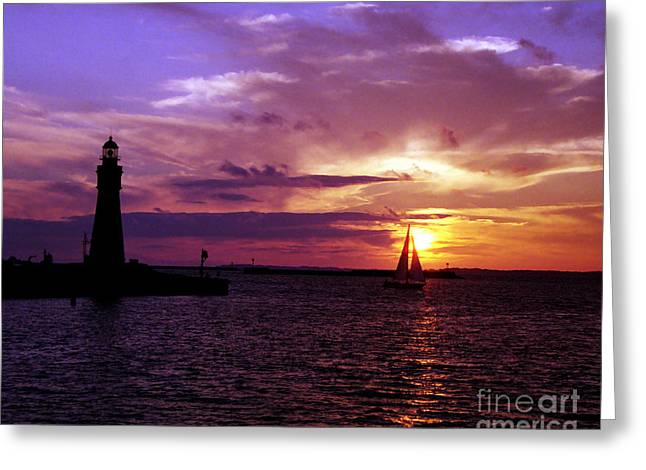 Greeting Card featuring the photograph Buffalo Main Lighthouse by Tom Brickhouse