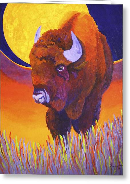 Greeting Card featuring the painting Buffalo Moon by Nancy Jolley