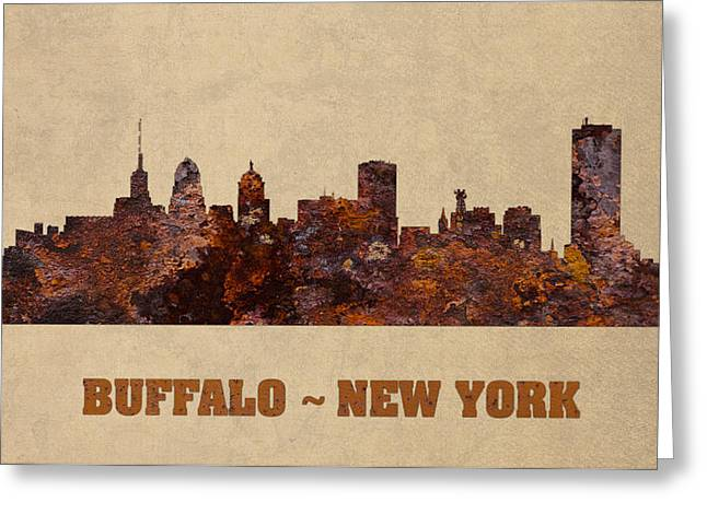 Buffalo New York City Skyline Rusty Metal Shape On Canvas Greeting Card by Design Turnpike