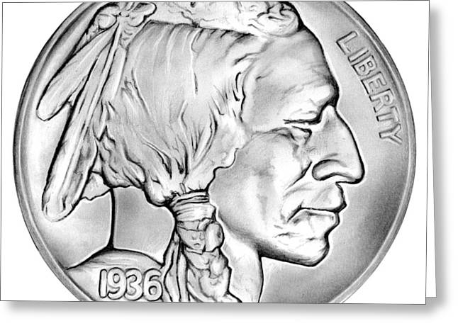 Buffalo Nickel Greeting Card by Greg Joens