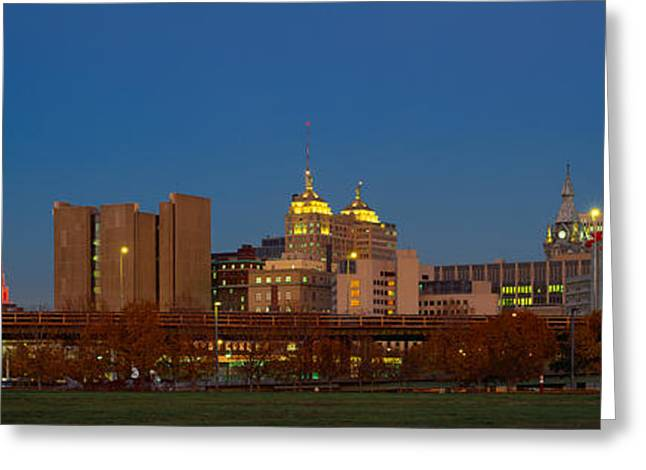 Buffalo, Skyline At Dusk, New York Greeting Card by Panoramic Images