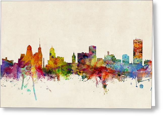 Buffalo Skyline Greeting Card by Michael Tompsett