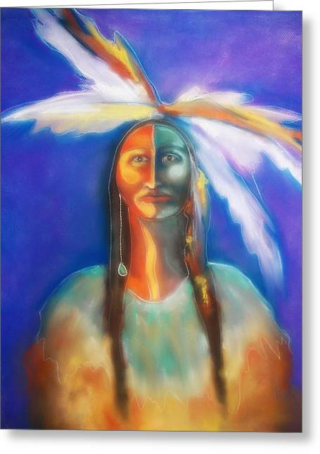 Buffalo Spirit Woman Greeting Card by Johanna Elik