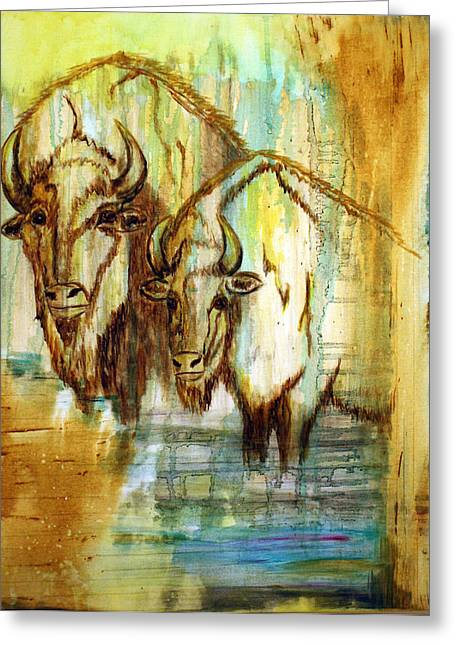 Greeting Card featuring the painting Buffalo Waters by Jennifer Godshalk
