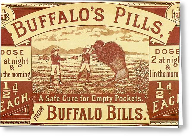 Buffalo's Pills Vintage Ad Greeting Card by Gianfranco Weiss