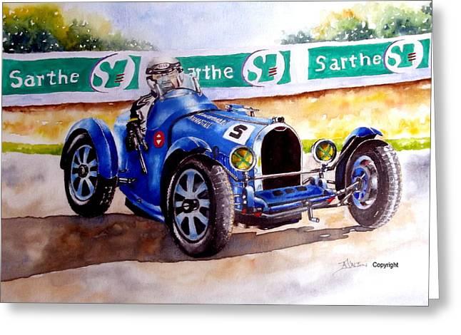 Bugatti 35b Greeting Card by Anne Dalton