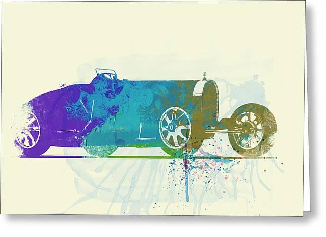 Bugatti Type 35 R Watercolor Greeting Card by Naxart Studio