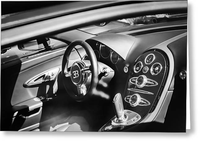 Bugatti Veyron Legend Steering Wheel -0484bw Greeting Card by Jill Reger