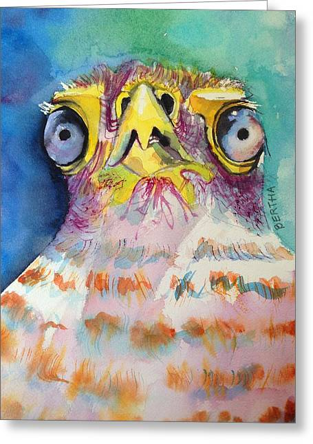 Greeting Card featuring the painting Bugeyed Baby Bird by Karen bertha Calderon