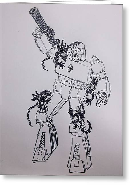 Bugging Megatron Greeting Card by Kyle Franks