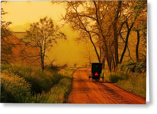 Buggy On A Sunday Morning Drive Batik Greeting Card by Laura James