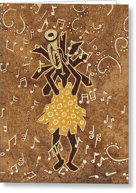 Bugle Player Greeting Card by Katherine Young-Beck