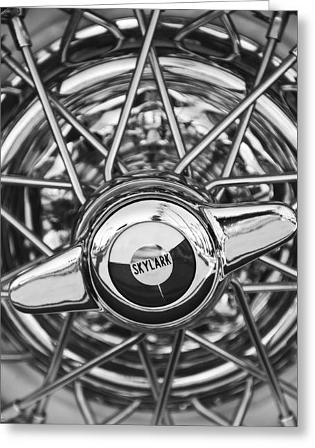 Buick Skylark Wheel Black And White Greeting Card