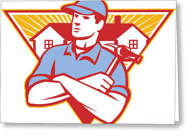 Builder Construction Worker Hammer House Greeting Card by Aloysius Patrimonio