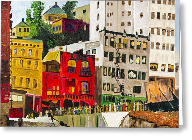 Building A City By Stan Bialick Greeting Card by Sheldon Kralstein