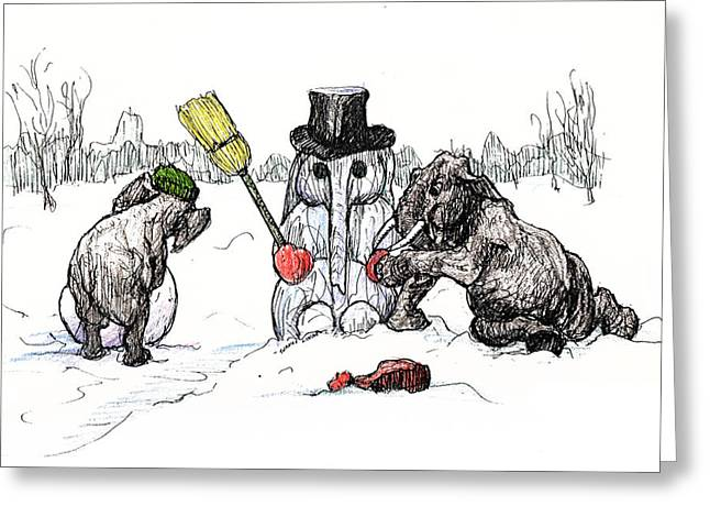 Building A Snow Elephant Greeting Card by Donna Tucker