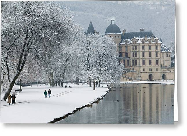 Building Along A Lake, Chateau De Greeting Card