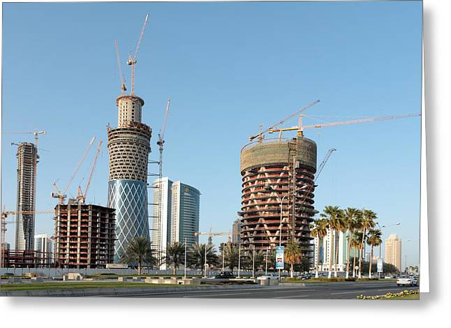 Building Doha Tower By Tower Greeting Card by Paul Cowan