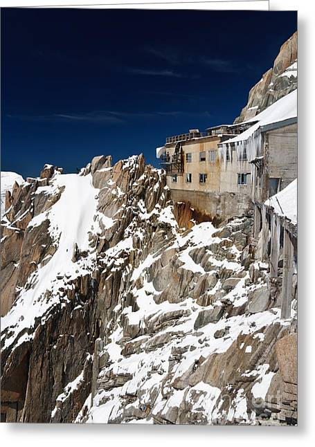 Greeting Card featuring the photograph building in Aiguille du Midi - Mont Blanc by Antonio Scarpi