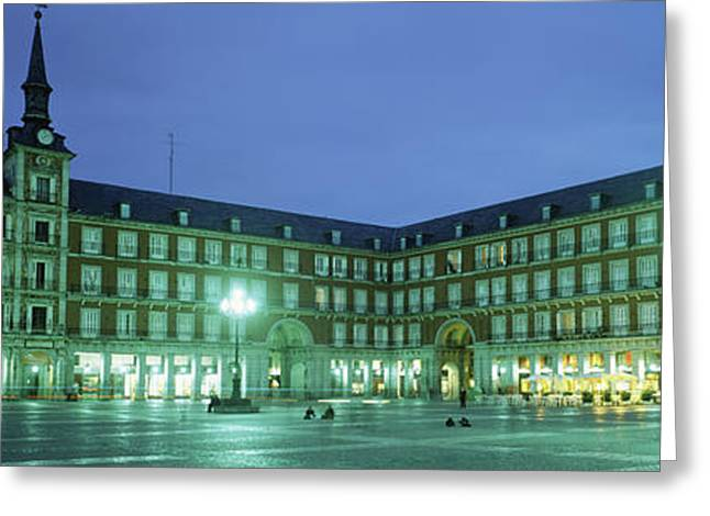 Building Lit Up At Dusk, Plaza Mayor Greeting Card by Panoramic Images